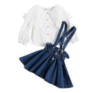 1-6Years Infant Baby Girl Kid Solid Clothes Long Sleeve Lace T-shirt Tops+Skirt Outfits Set 2Pcs Clothing Set