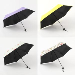 Портативный зонтик Compact Mini Sunshade Printing Pocket Black Clue Dual Цель DIY Сплошной цвет Женщины Зонтики 19 5мх к2