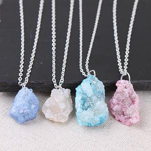 Нерегулярные природные каменные кварцевые кристаллические подвески ожерелье Drusy Druzy Silver Color Change emplate для женщин