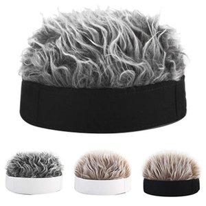 Fälschungs-Haar-Perücke Sun Cap für Männer und Frauen Lustig Cool Hip Hop Cap Short Melon Solid Color Retro-Fischer