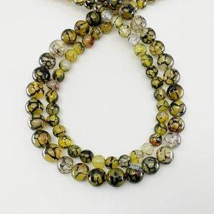 1 Strang 6 8 10 mm Natürliche Stein Gelb-Drache Vene Agat Perle Runde Lose Spacer Perlen für Schmuckherstellung von Findings H BBYXBO
