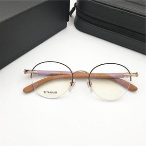 Marka Erkekler Ahşap Gözlük Çerçeveleri Yuvarlak Çerçeve Optik Gözlük Çerçevesi erkek Gözlük Çerçevesi Kadınlar Ahşap Bacaklar Miyopi Gözlük Orijinal Kutusu ile
