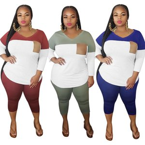 Womens Designer Tracksuits Long Sleeve V Neck Multi Color Panelled Plus Size Set Women Two Piece Outfit