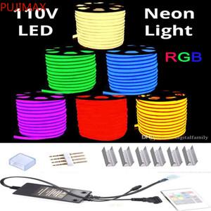 RGB AC 110V Neon-Seil-LED-Streifen 100 Meter Außenwasserdose 5050 SMD-Licht 60LEDS / M mit Netzteil Controller Cuttable bei 1 meter