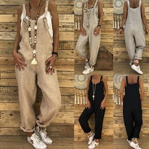 Brand New 2019 Womens Summer Solid Cotton Linen Jumpsuit Romper Dungarees Sleeveless Pockets Overall Loose Trousers Pants