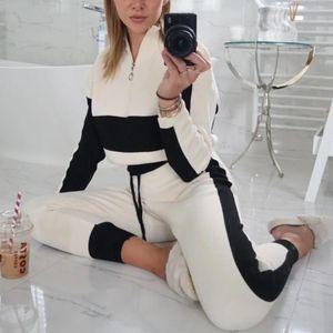 Hot Sale Ladies Suit Leisure Sports Suit Splicing 2Pcs Sportswear Fashion Fitness Home Wear Spring Autumn Zipper V-Neck Slim Fit