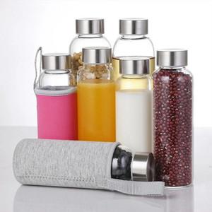 Cam su şişesi koruyucu çanta ile 550 ml açık bisiklet şişeleri yüksek kaliteli drinkware