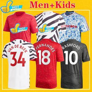 hombre de Manchester Utd humanrace 2021 FERNANDES camisa Estados van de Beek GREENWOOD Rashford jersey de fútbol Fútbol MARCIALES 20 21 uniformes del kit Niños