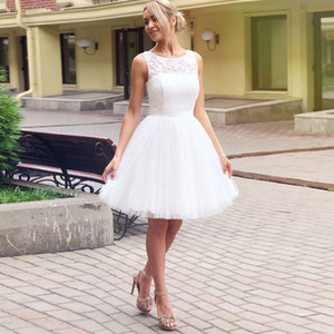 2021 Summer Short Wedding Dresses Sleeveless Zipper Lace Up Back Bride Robe De Marrige Cheap A Line Tulle Formal Gowns