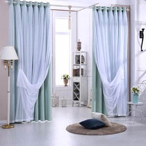 Gyrotex Countrycurtain Solid Color 2-pass Woven Blackout Curtain Additional Pure White Tulle Sewn with the curtain GYC2067