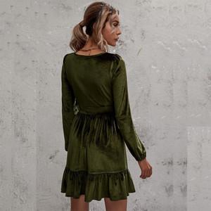 Quyj High Plus Элегантные зимние платья 2017 Офисные платья для женщин Одежда Sashes V-образным вырезом Сплошной декоративный размер Урожай Vestidos Work Quality