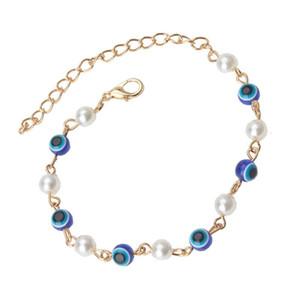 EVIL EYE 1 new chain Blue Evil Eye Beads Bracelet Acrylic Beads Bracelet Simple Classic Strand For Women Girl