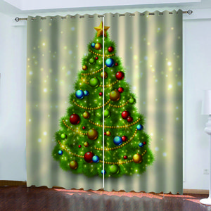 Customized size Luxury Blackout 3D Window Curtains For Living Room gold tree christmas curtains Decoration curtains