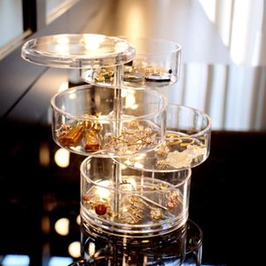 Boîtes de rangement 4 couches rotatives Boîte à bijoux en plastique petit accessoires BRACELET TÊTE DE TÊTE DE TÊTE DE TÊTE DE STOCKAGE SUR LA MER EXPÉDITION GWE3692