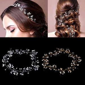Luxury Wedding Bridal Rhinestone Faux Pearl Headband Tiara Hair Chain Headpiece