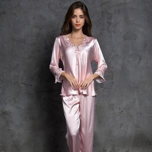 Women Bowknot Pajamas Sets With Pants Long Sleeve Satin Casual Pyjama Nightwear Loose Home Clothes Silk Sleepwear Pijama 201113