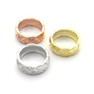 Wholesale- titanium steel couple ring 18K gold female European and American style sub-pattern CZ ring jewelry