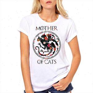 Women Tshirts Mother of Cats Flower Print Short Sleeve Woman Harajuku Kawaii Camisas Mujer Top Tee Shirt Female T shirt