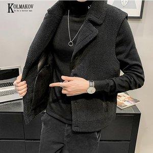 KOLMAKOV 2020 New Korean Men Shorn Sheepskin Fur Vest Black Gray Thickened with Velvet Turn-down Collar Waistcoat Male M-3XL