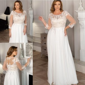 2021 Summer Chiffon A-Line Wedding Dresses Applique Lace Scoop Neck Long Sleeves Bridal Gowns Sweep Train Wedding Dress robe de mariée
