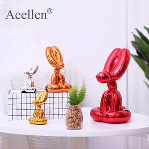 plating Balloon Dog Statue Resin Sculpture Home Decor Modern Nordic Home Decoration Accessories for Living Room Animal Figures 201201