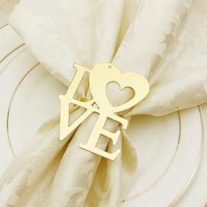 Saint-Valentin Bague de mariée Sandkin Anneaux de serviettes métalliques pour dîners Party Hôtel Table de mariage Decoration Serviette Boucle 100pcs T1I3434