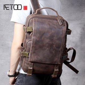 HBP AETOO خمر حقيبة الكتف الجلود جنون الخيل، حقيبة ظهر جلدية للرجال، حقيبة سفر عارضة