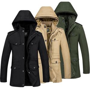 2020 Winter Men Plus Velvet Plus Cotton Jacket Simple Velvet Coat Large Size Middle Long Coat