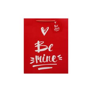 Valentine Love cadeau sac de cadeau rouge shopping shopping cadeau emballage sac de sac kraft papier blanc petit sac d'emballage actuel HHA2871