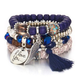2020 Newest Bohemia Crystal Cat Eye Stone Multi Layer Beads Tassel Bracelet Vintage Tassel Multilayer Beaded Bracelet
