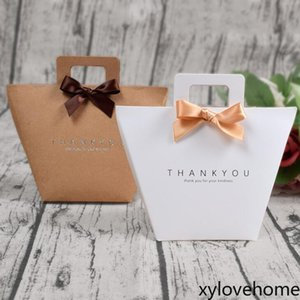 Thank you gift box bag with handle foldable wedding kraft Gift Wrap paper candy chocolate perfume Valentines package simple fashion design