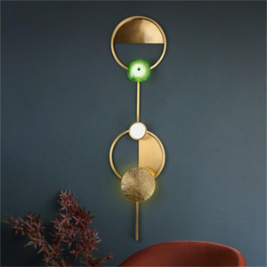 Danish  wall lamps Nordic creative copper living room decoration wall lights bedroom bedside lamp background wall lamp