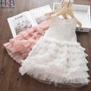 Humor Bear Girls Dress Dress Summer Senza Maniche Bambini Solid Lace Cake Princess Dress Moda Bambini Abbigliamento F1217