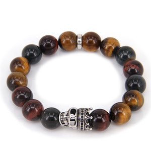 Thomas Style BIG Color TIGER'S EYE BEAD AND KING SKULL BEADS ELASTIC BRACELET, Rebel Heart Style Jewelry for Men Z1124