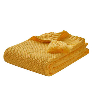 Nordic Style Knitted Blanket with Tassels Baby Cobertor Blankets Warm Decorative Sofa Blanket for Bed Chair