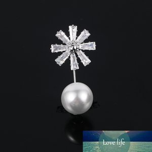 Brand New Arrival Cubic Zirconia Crystal Flower and Simulated Pearl Dress Pins