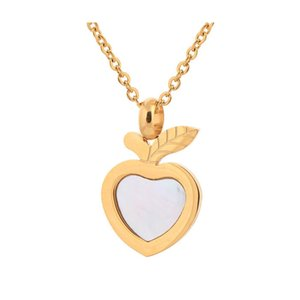 luxury gold plated stainless steel apple pendant accessories jewelry necklace women