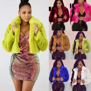 Осень зима из искусственного меха женщины куртка сплошной розовый толстый теплый тедди пальто тонкий карманный карманный воротник из искусственного меха женской куртки женский # 3 LJ201204