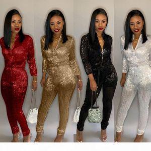 Women New Plus Size Gold Silk High Waist Zip Up Long Sleeve Jumpsuit Vintage 4 Colors Rompers Playsuit S-3xl B9140