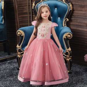 Kid's long dress star Sequin embroidered princess dress of girl short sleeve children's fluffy show Dress