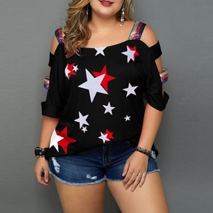 Женщины Plus Размер Повседневная Летняя Блузка Топы Звезда Распечатать Снятые Плечо Стропы Рубашки Рукава Женщины CamiSetas Verano Mujer Ed B1204
