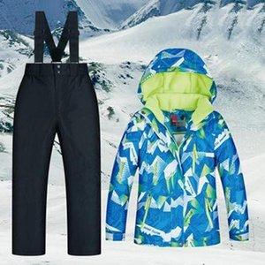 Детские Snowsuit лыжные лыжные Bibs Sport Snowsuit Toddler Костюм зимние Пальто Сноки с капюшоном / сноуборд Куртка