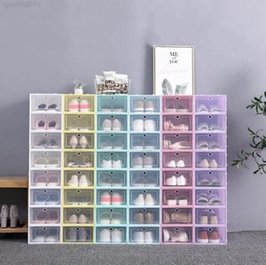 Thicken Clear Plastic Dustproof Storage Flip Transparent Shoe Boxes Candy Color Stackable Shoes Organizer Box DHC2653