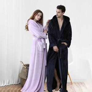 Women's Plush Fleece Robe with Hood Warm Solid Bathrobe Men Thermal Flannel Extra Long Bath Robe