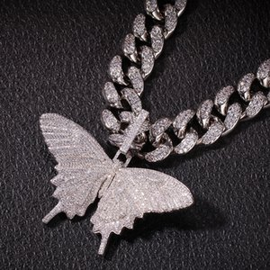 Hip Hop Men Gold Color Necklace Ice Out Cuban Chain Copper Zircon Butterfly Pendant Micro-inlaid High Quality Crystal Miami 201014