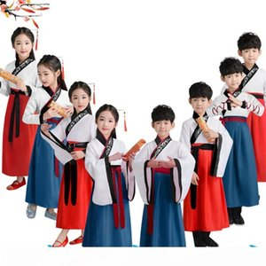 2019 Kids Traditional Chinese Clothing Baby Girls Ancient Costumes Folk Dance Hanfu Dress Stage Performance Boys Culture Tang
