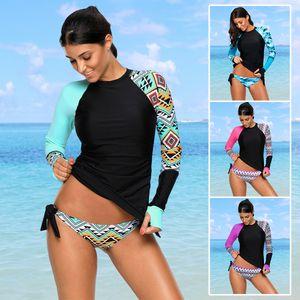Hohe Qualität langarm Tankini Frauen Bademode Sexy Bikini Badeanzug für Mädchen Strand UPF 50+ Rash Guards Tauchanzug Plus Größe