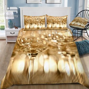 Whistle Wine Glasses 3D Bedding Set Printed Duvet Cover Set Queen King Twin Size