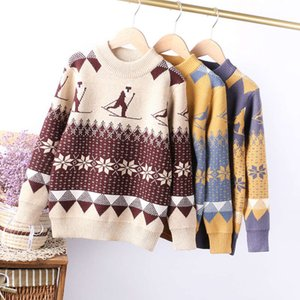 matching boy's 2020 jacquard winter color Pullover big children's bottomed Sweater