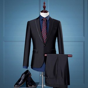 ( Jackets + Pants ) New High-end Brand Groom Wedding Dress Fashion Boutique Solid Color Suits Men Slim Formal Business Suits